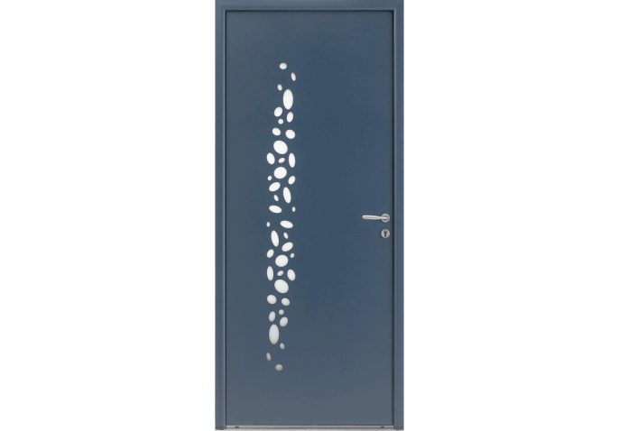 Porte d'entrée alu vitrée avec motifs bulles