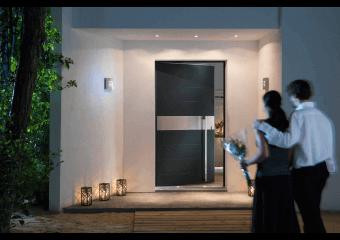Porte d'entrée alu grande largeur insert horizontal