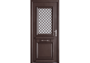 Porte d'entrée alu vitrée et moulures à l'ancienne