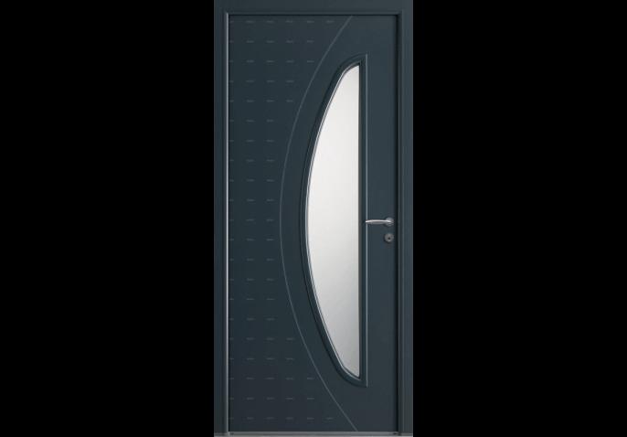 Porte d'entrée bois alu vitrage demi-lune