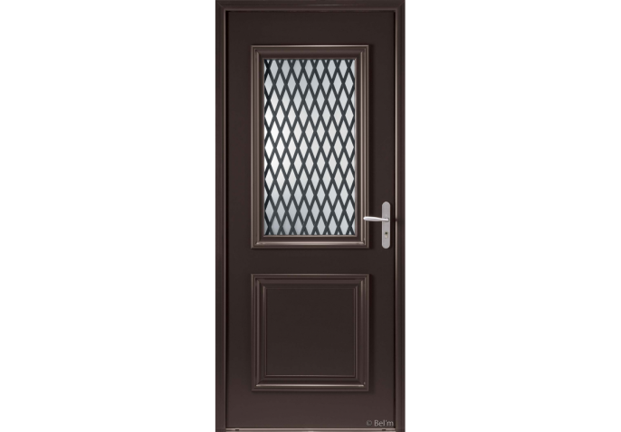 Porte d'entrée bois alu avec vitrage et grille forgée