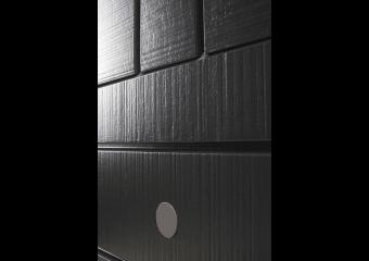 Porte d'entrée bois pleine à rainures verticales