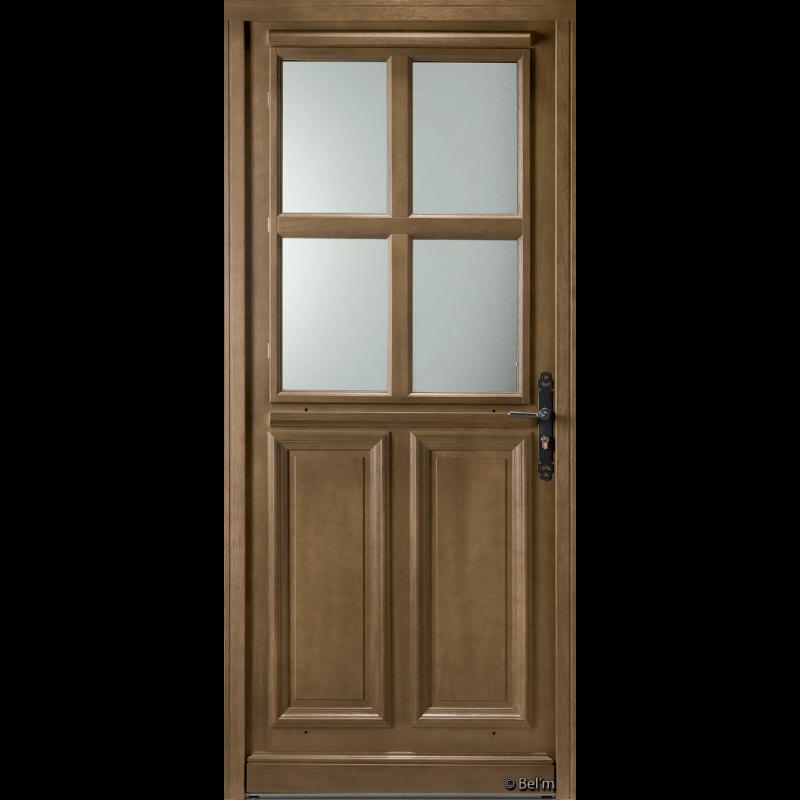 Porte d 39 entr e bois vitr e 4 carreaux for Porte interieure avec carreaux