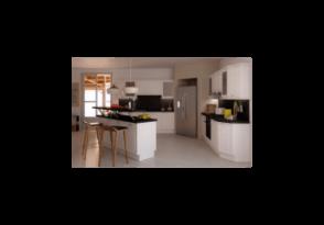 cuisine pur e avec lot central. Black Bedroom Furniture Sets. Home Design Ideas