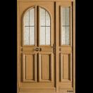 Porte bois vitrée 2 carreaux arrondis