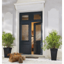 Porte d'entrée bois vitrée et grille décorative