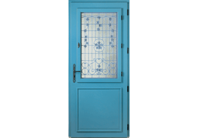 Porte d 39 entr e bois vitr e avec grille motifs for Porte decorative