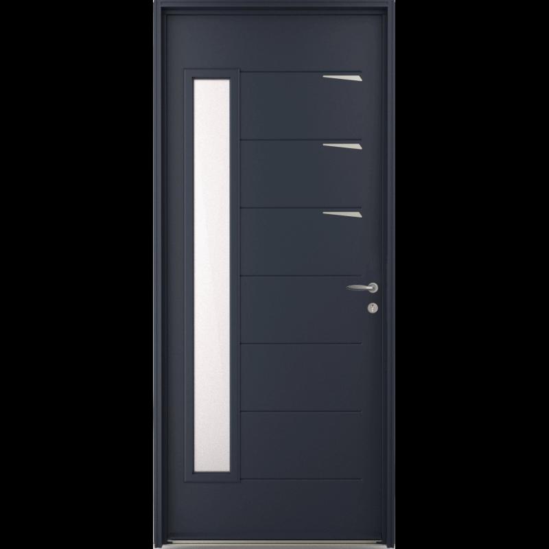 porte d 39 entr e acier vitr e et inserts inox. Black Bedroom Furniture Sets. Home Design Ideas