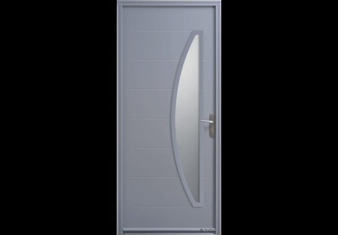 Porte d'entrée acier vitrage demi-lune verticale