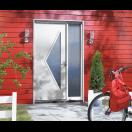 Porte d'entrée acier avec vitrage triangulaire