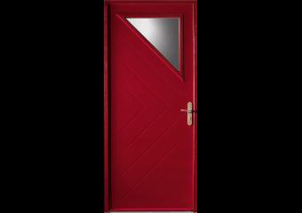 Porte d'entrée acier avec petit vitrage triangle