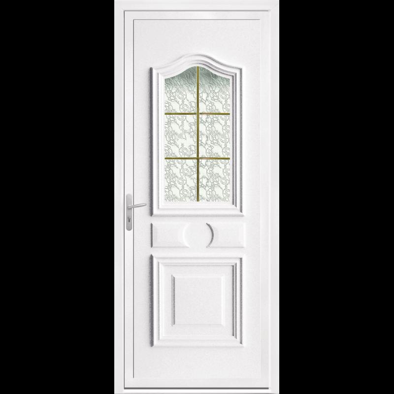 Porte Dentrée PVC Vitrée Avec Moulures - Porte d entrée pvc vitrée