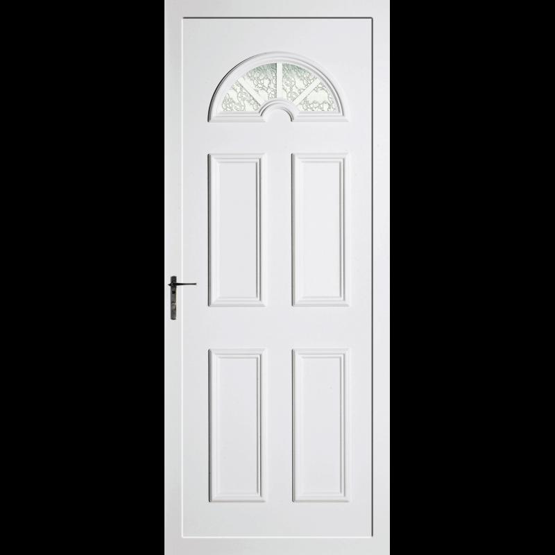 Porte d 39 entr e pvc vitrage demi lune for Porte vitree standard