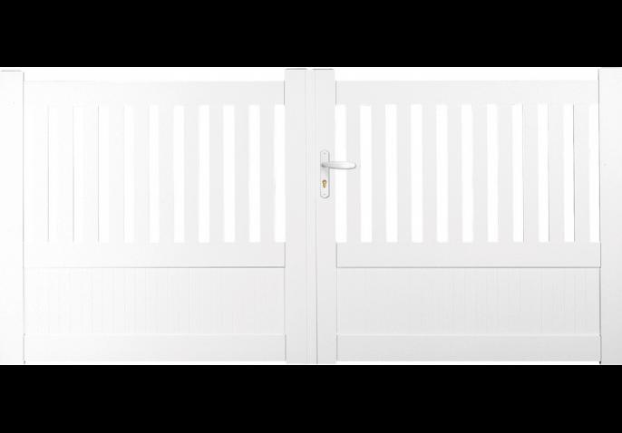 Portail PVC droit semi-ajouré vertical
