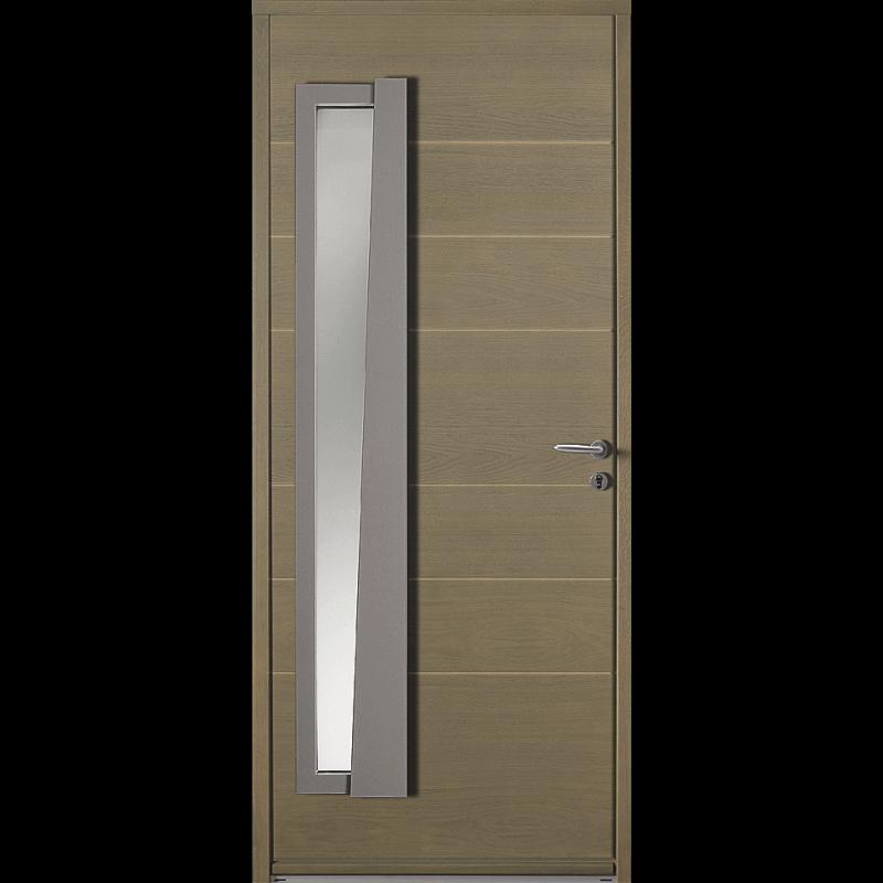 Porte d 39 entr e bois moderne avec vitrage vertical for Porte vitree standard