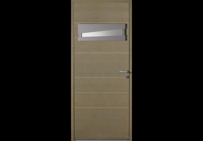 Porte d 39 entr e bois petit vitrage design for Porte vitree standard