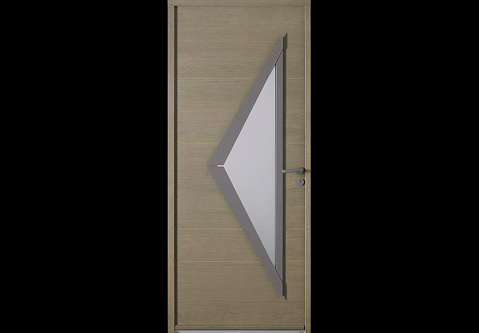 Porte d 39 entr e bois avec vitrage triangle for Tringle porte d entree