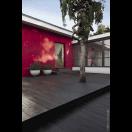 Porte d'entrée bois avec vitrage triangle