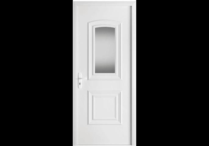 Porte d 39 entr e pvc avec moulures et vitrage for Porte vitree standard