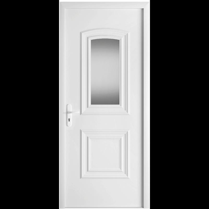 porte d 39 entr e pvc avec moulures et vitrage. Black Bedroom Furniture Sets. Home Design Ideas