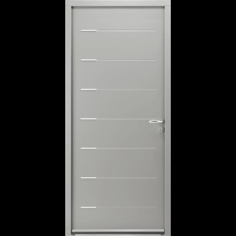 Porte d 39 entr e acier contemporaine avec inserts inox for Porte d entree contemporaine