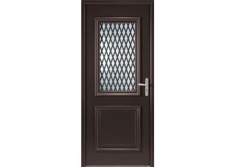 Porte d'entrée alu mi-vitrée avec grille alu