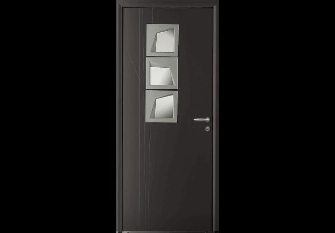 Porte d'entrée alu avec vitrage géométrique