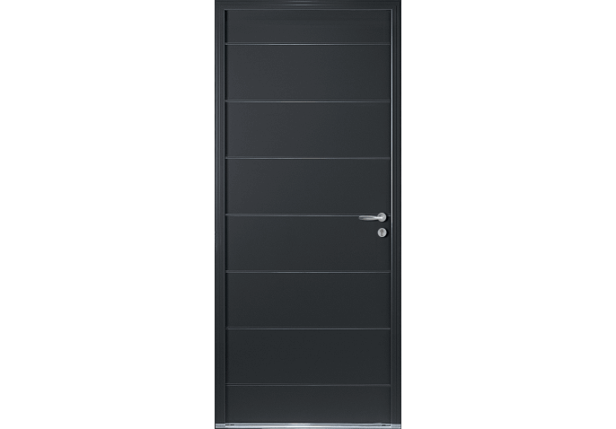 Porte d 39 entr e alu contemporaine rainures for Porte entree alu contemporaine
