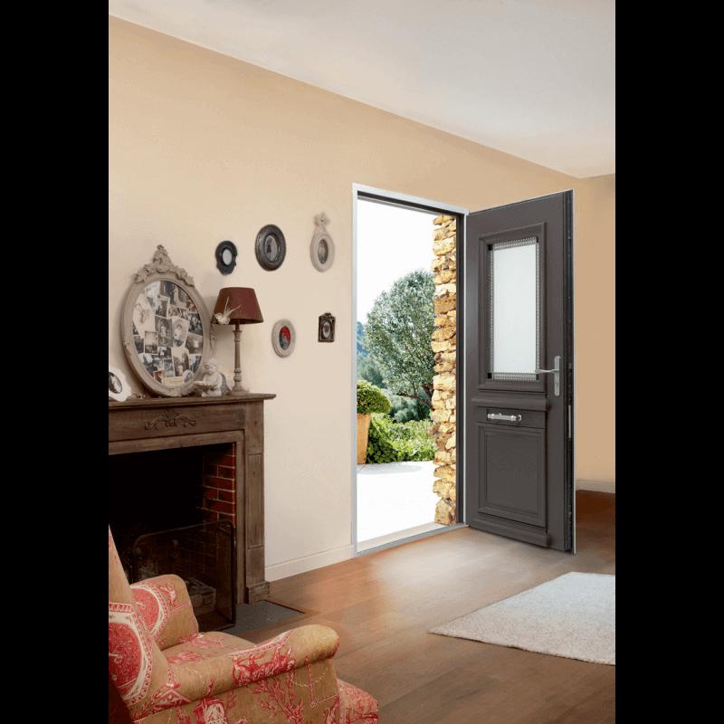porte d 39 entr e alu classique mi vitr e et grille tain. Black Bedroom Furniture Sets. Home Design Ideas