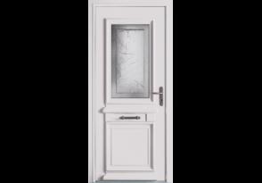 Porte d'entrée alu mi-vitrée au style traditionnel