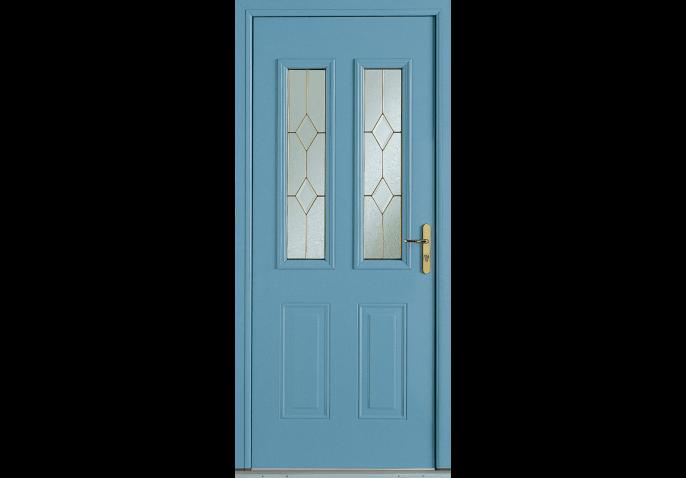 Porte d 39 entr e alu traditionnelle avec vitrail laiton - Porte d entree avec vitrail ...