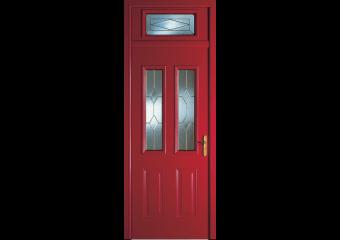 Porte d'entrée alu traditionnelle avec vitrail laiton