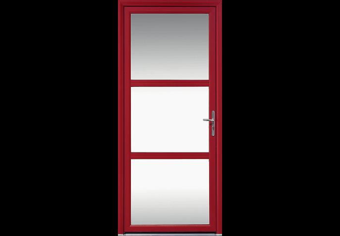 Porte d'entrée alu 3 grands vitrages sablés