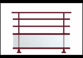 Garde-corps aluminium à barreaux et avec vitrage