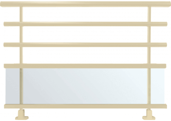 Garde-corps alu semi-vitré et lisses rondes
