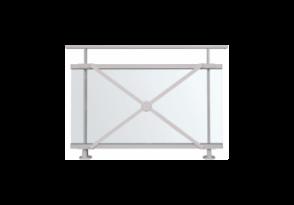 Garde-corps vitré motif croisé en aluminium