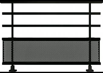 Garde-corps alu avec barreaux et tôle perforée