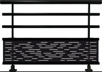 Garde-corps aluminium avec panneau motifs traits