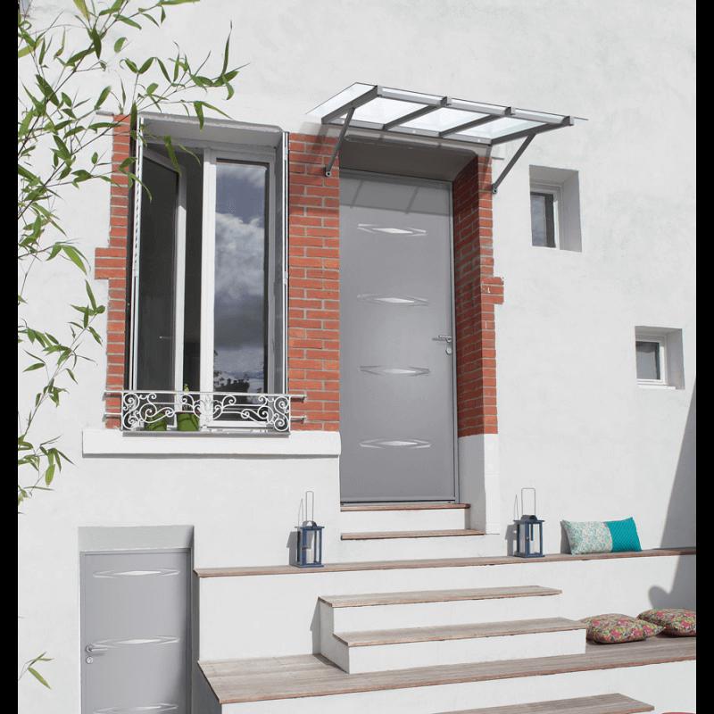 marquise contemporaine vitr e en aluminium la forme. Black Bedroom Furniture Sets. Home Design Ideas