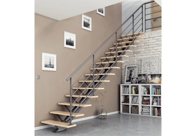 escalier moderne avec limon central acier. Black Bedroom Furniture Sets. Home Design Ideas