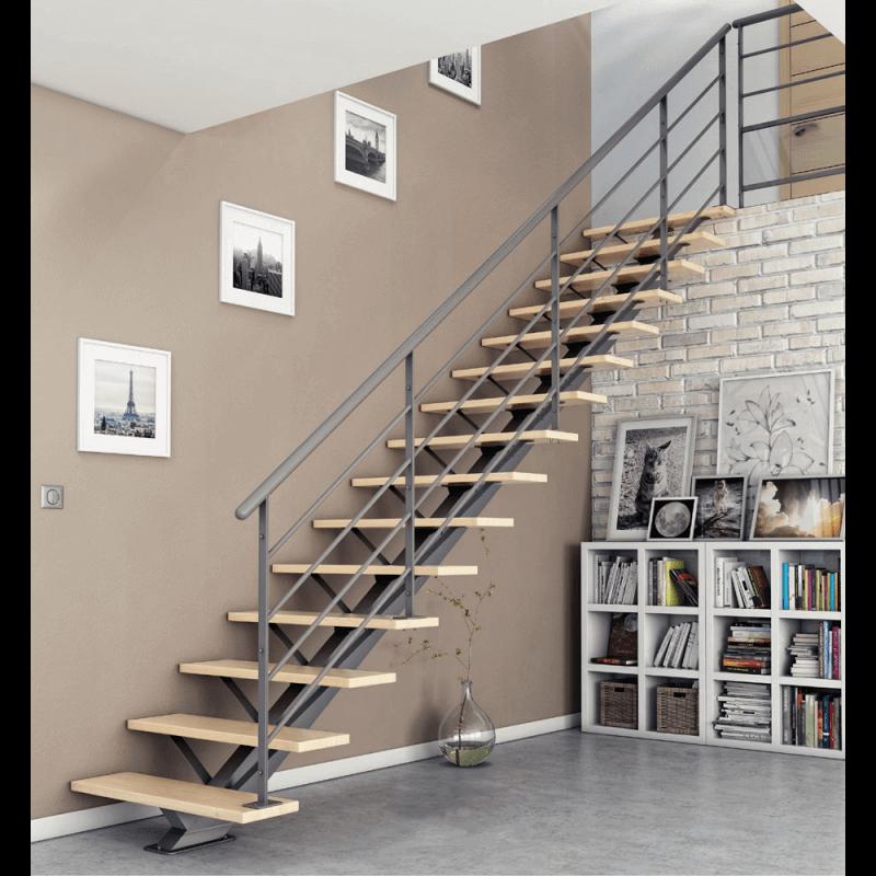 escalier moderne avec limon central acier. Black Bedroom Furniture Sets. Home Design Ideas