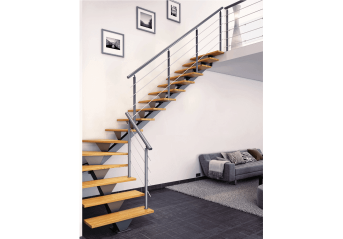 escalier m tal avec limon central design. Black Bedroom Furniture Sets. Home Design Ideas