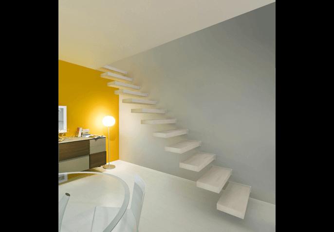 Escalier wall avec marches dans le mur