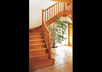 Escalier bois 1/4 tournant centre