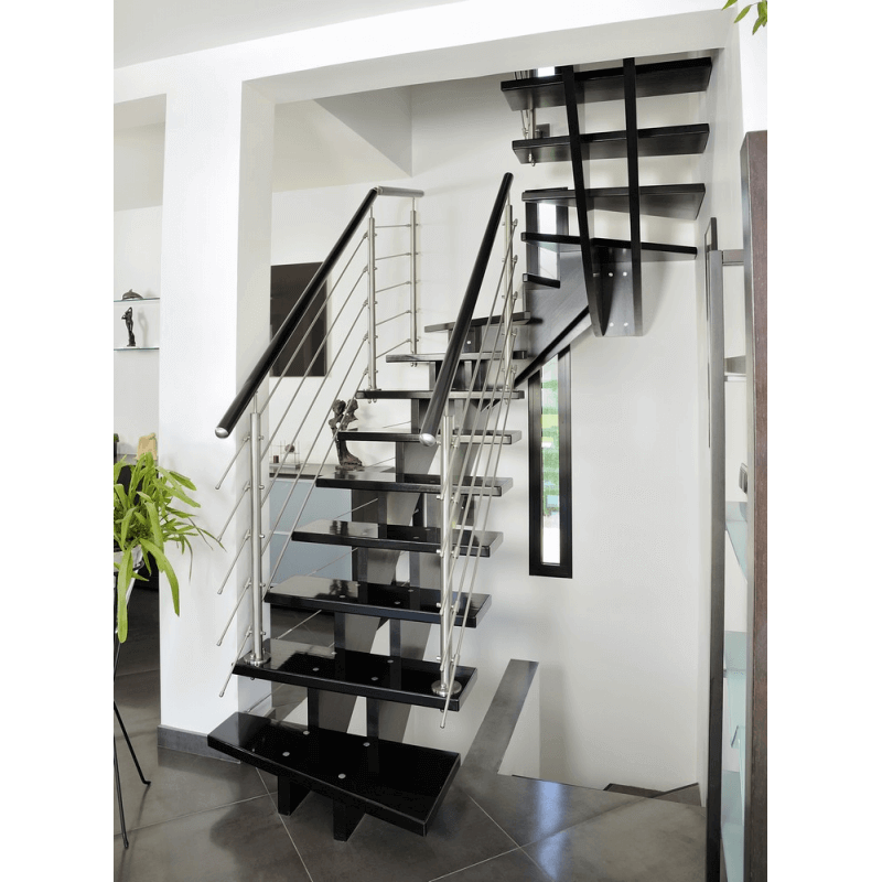 escalier contemporain 1 2 tournant limons centraux. Black Bedroom Furniture Sets. Home Design Ideas