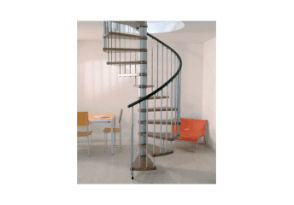 Escalier colimaçon ajustable bois-acier