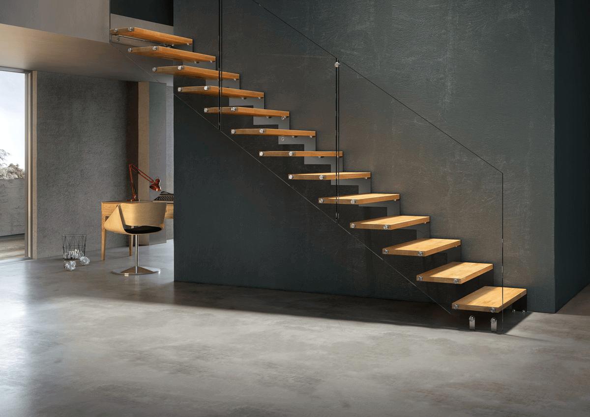 Escalier droit avec 1 limon latéral au style contemporain