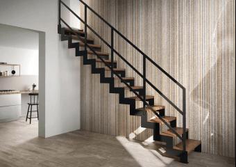 Escalier droit lisses acier plat