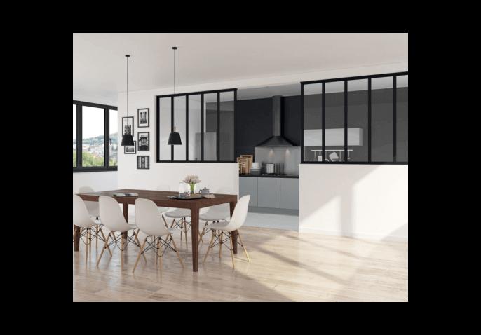 Verri re fixe en aluminium au style atelier d 39 artiste for Fenetre interieure style loft