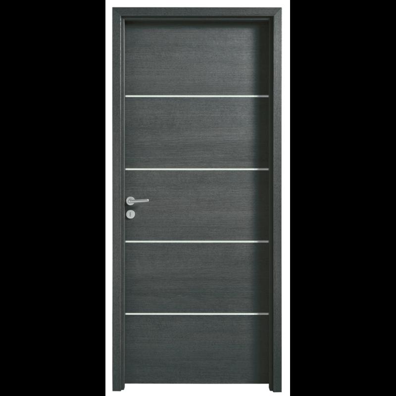 porte int rieure effet bois structur avec 4 inserts alu. Black Bedroom Furniture Sets. Home Design Ideas